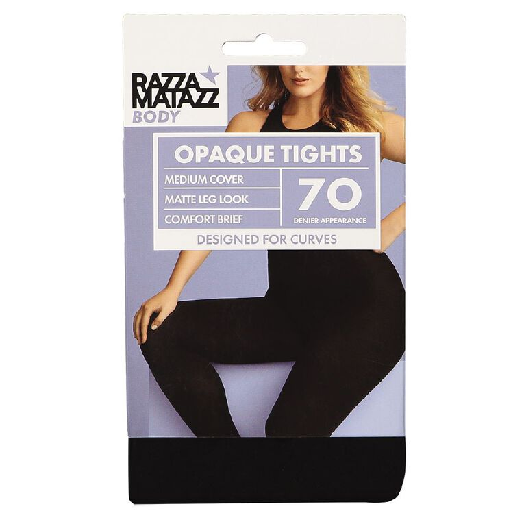 RazzaBody Women's Body 70D Opaque Tights, Black, hi-res