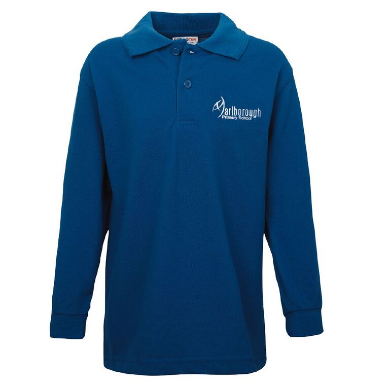 Schooltex Marlborough Long Sleeve Polo with Embroidery, Royal, hi-res