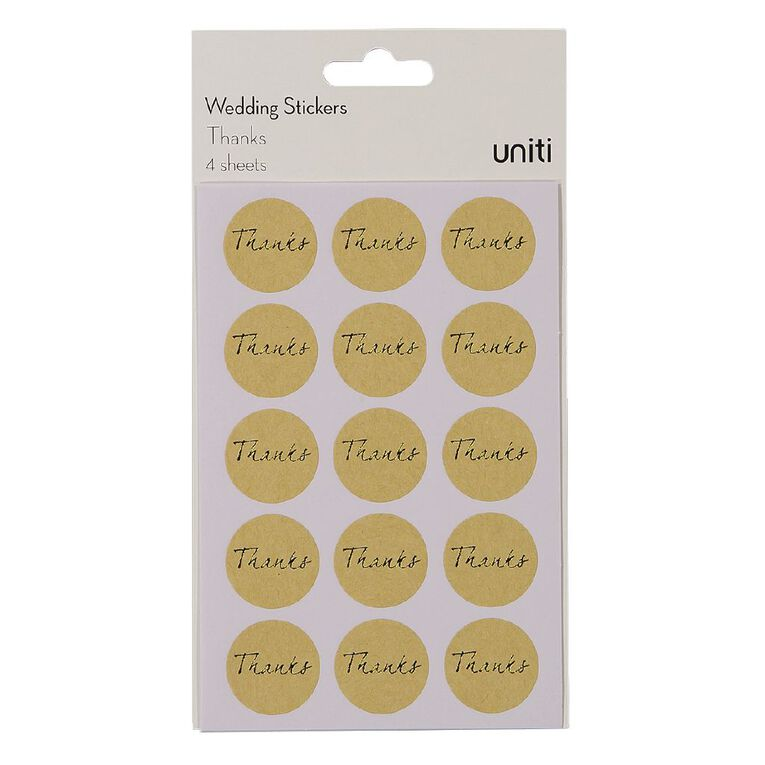 Uniti Formal Stickers Thank You Gold, , hi-res