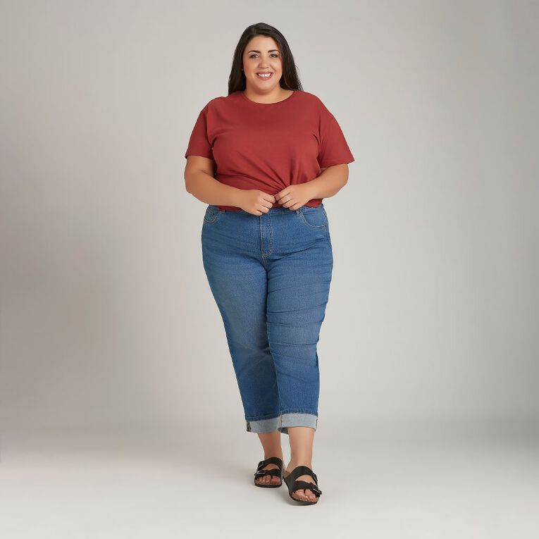 H&H Plus Women's Boyfriend Tee, Red Dark, hi-res