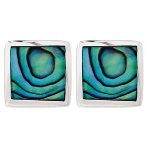 Sterling Silver Paua Square Stud Earrings