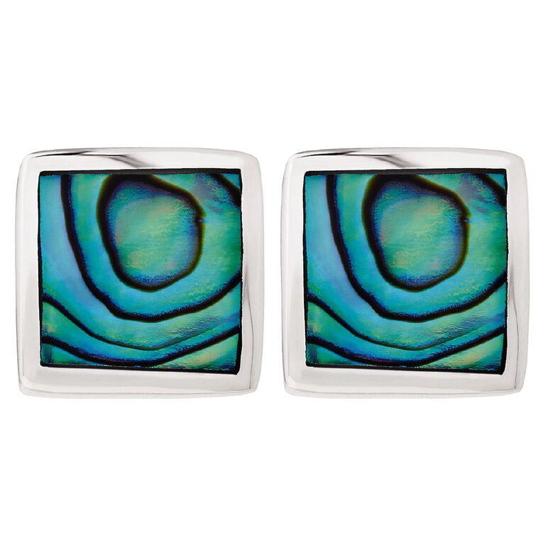 Sterling Silver Paua Square Stud Earrings, , hi-res