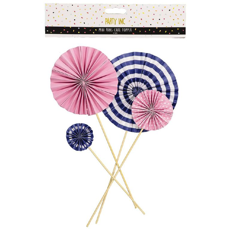 Party Inc Mini Fans Cake Topper Pink and Plue 4 Pack, , hi-res