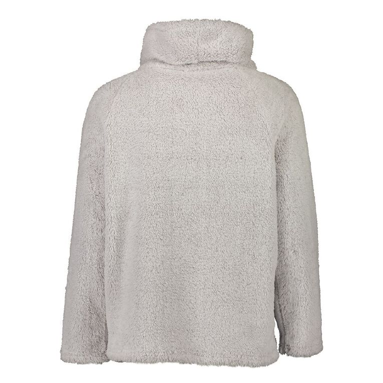 H&H Women's Fluffy Roll Neck Top, Grey, hi-res