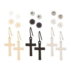 Basics Brand Stud Ball Cross Droplet Mixed Earrings 9 Pair Set