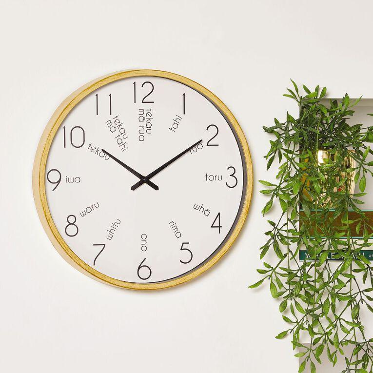 Living & Co Te Reo Clock Natural 40cm, , hi-res