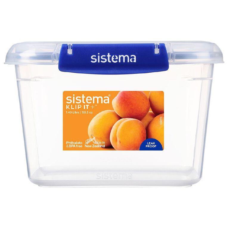 Sistema Klip It Plus Rectangular Container Assorted 1.49L, , hi-res