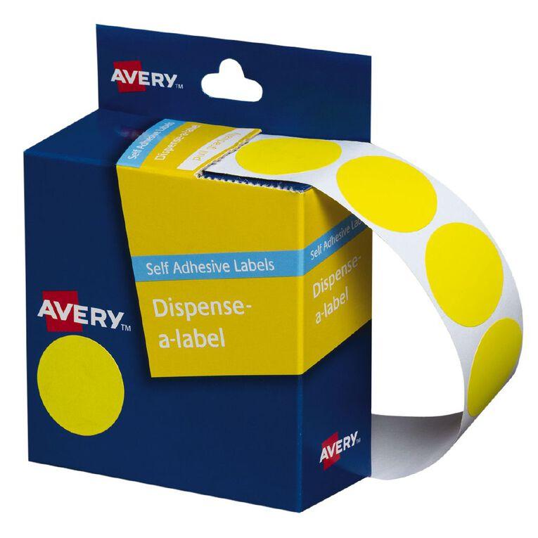 Avery Yellow Dispenser Dot Stickers 24mm diameter 500 Labels, , hi-res