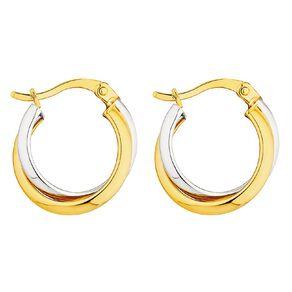 9ct Gold Two Toned Hoop Earrings