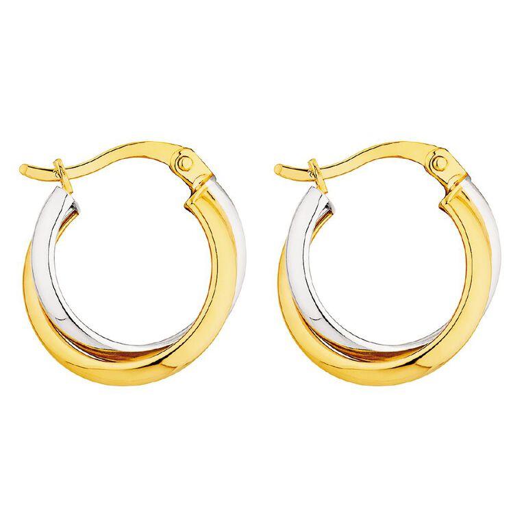 9ct Gold Two Toned Hoop Earrings, , hi-res