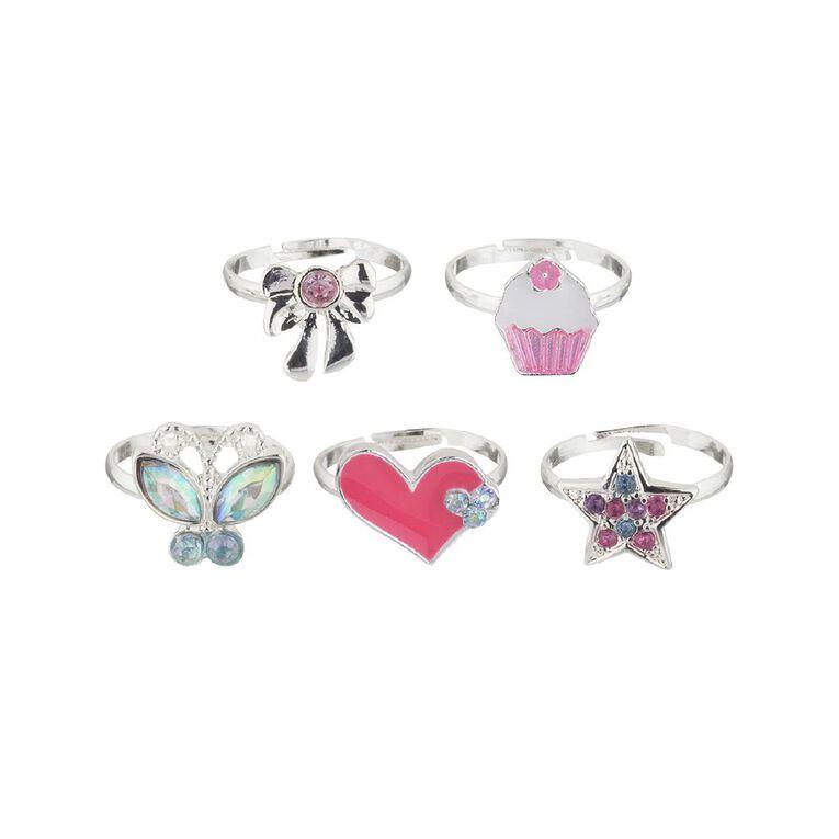 Kids Heart Cupcake Ring Set, Silver, hi-res