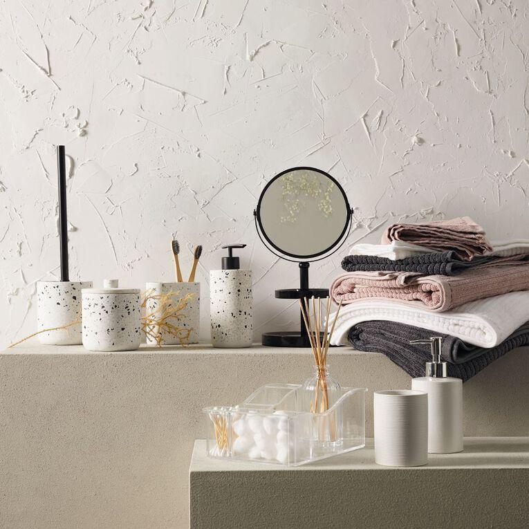 Living & Co Bath Towel Organic Ribbed Grey 65cm x 135cm, , hi-res