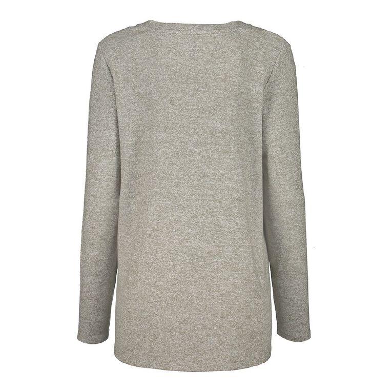 H&H Women's Long Sleeve Brushed Knit Swing Top, Green Light, hi-res