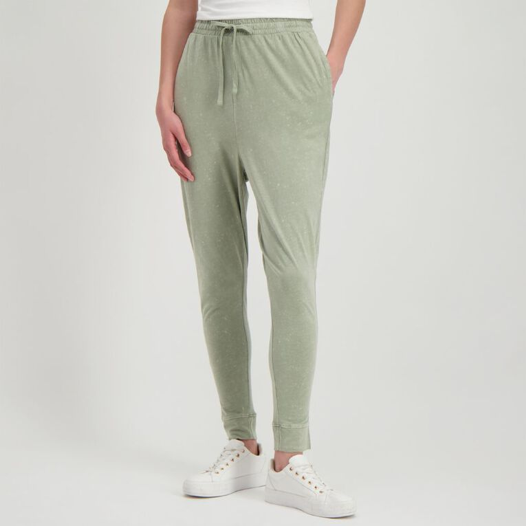 H&H Women's Acid Wash Harem Pants, Green Light, hi-res