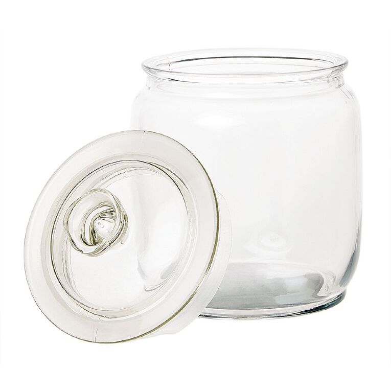 Living & Co Round Glass Jar Clear 1.5L, , hi-res