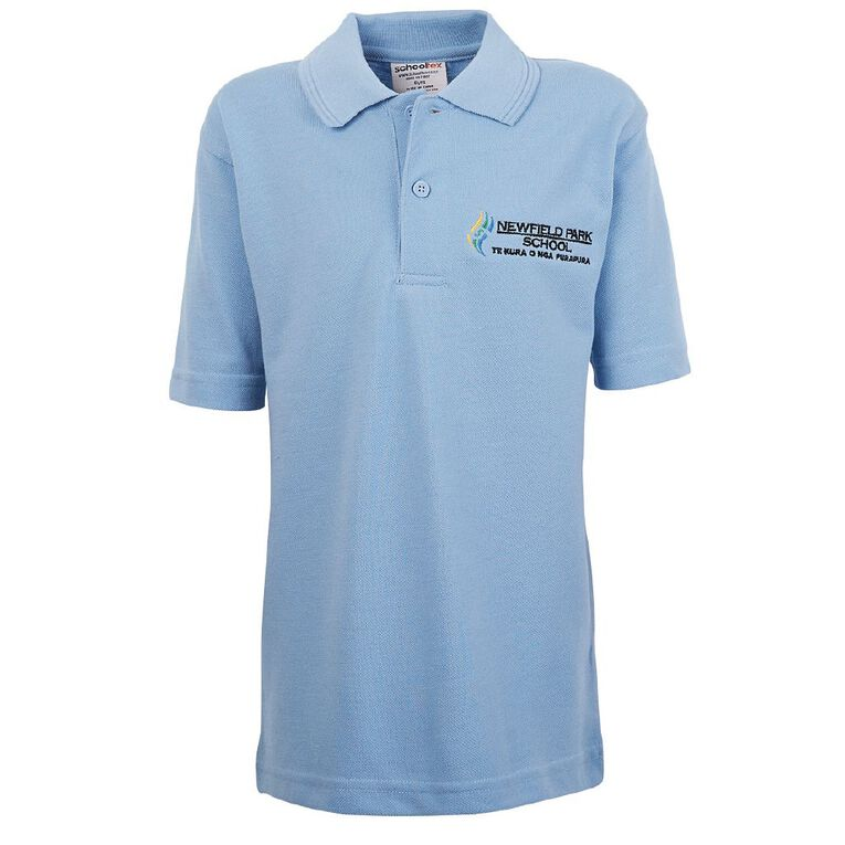 Schooltex Newfield Park Short Sleeve Polo with Embroidery, Sky Blue, hi-res