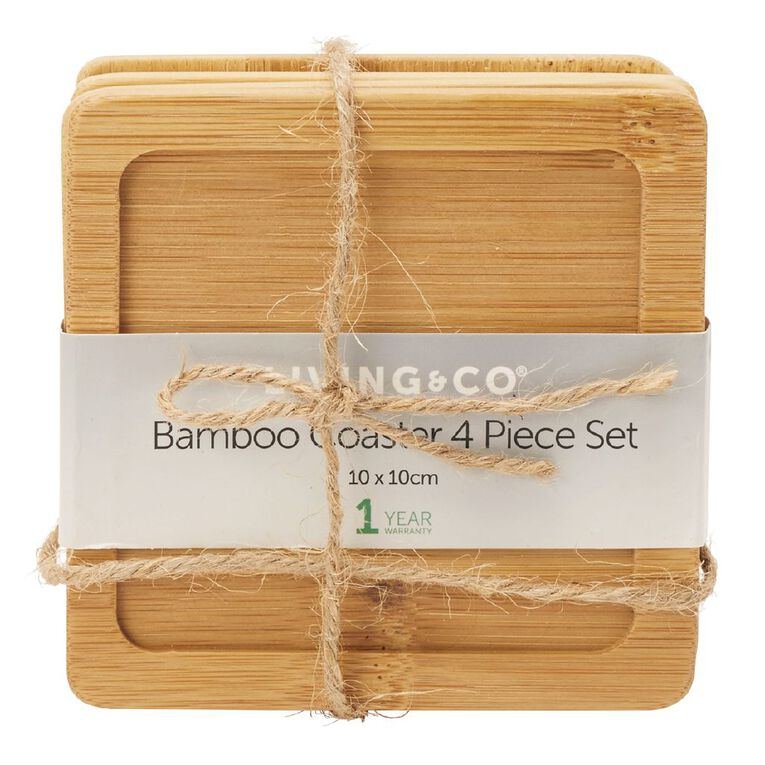 Living & Co Bamboo Coaster Square 4 Pack, , hi-res