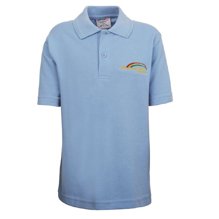 Schooltex Manchester Street Short Sleeve Polo with Embroidery, Sky Blue, hi-res