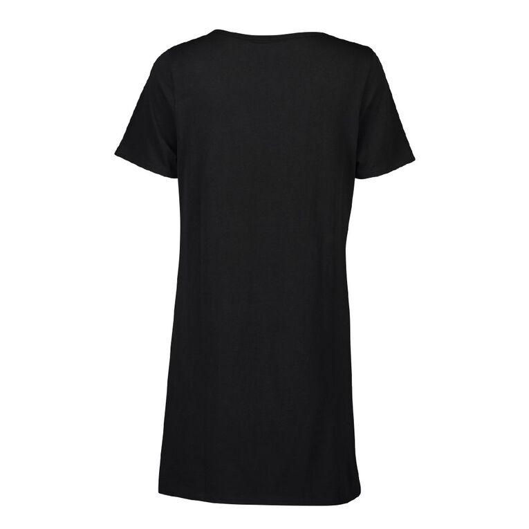 All Blacks Women's Short Sleeve Nightie, Black, hi-res