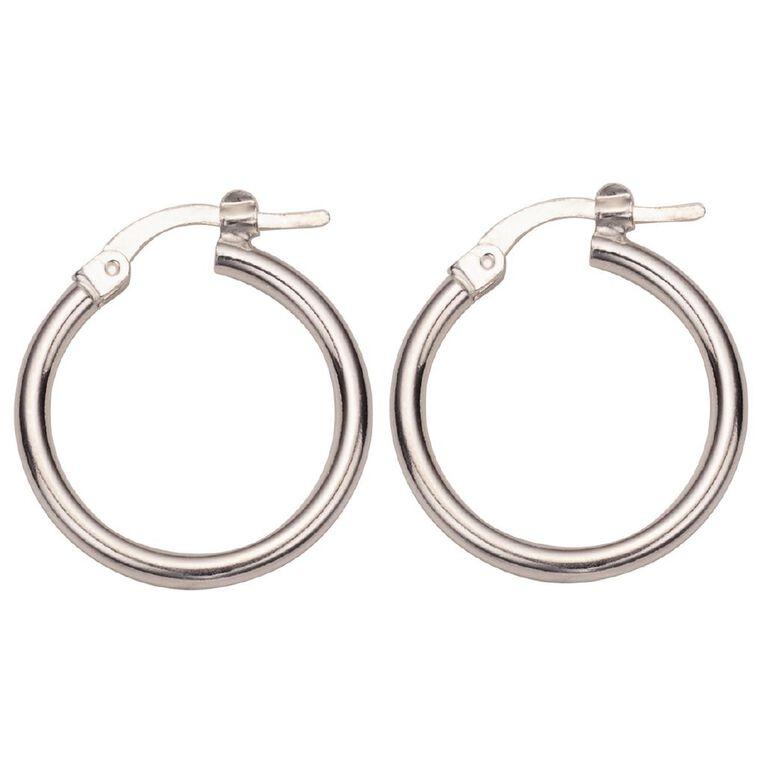 Sterling Silver Polished Hoop Earrings 10mm, , hi-res