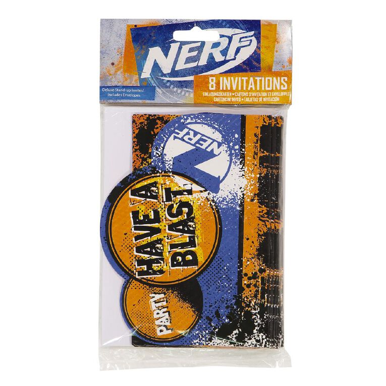 NERF Invitations with Envelopes 8 Pack, , hi-res
