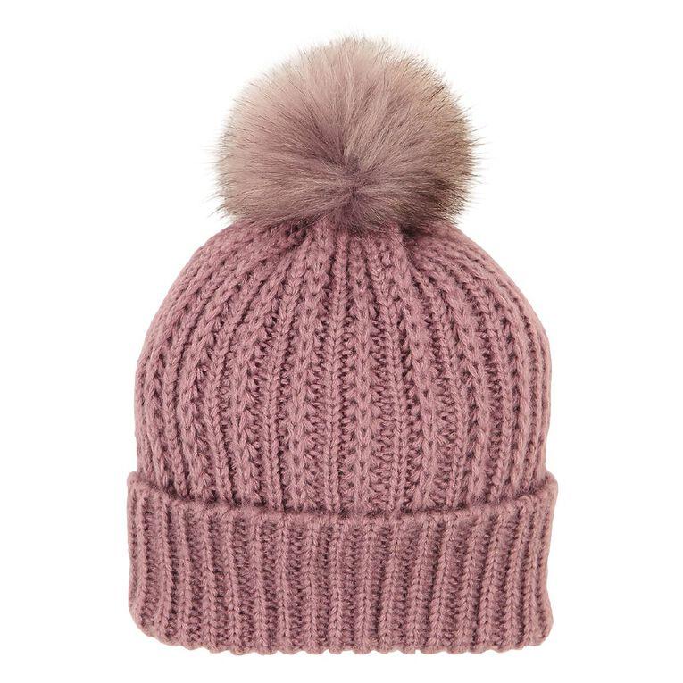H&H Soft Knit Pom Beanie, Purple, hi-res