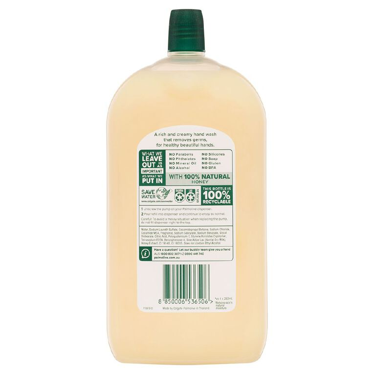 Palmolive Liquid Hand Wash Refill Milk & Honey 1L, , hi-res