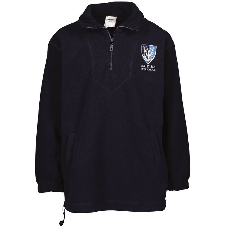 Schooltex Waitara High School Polar Fleece Top with Embroidery, Navy, hi-res