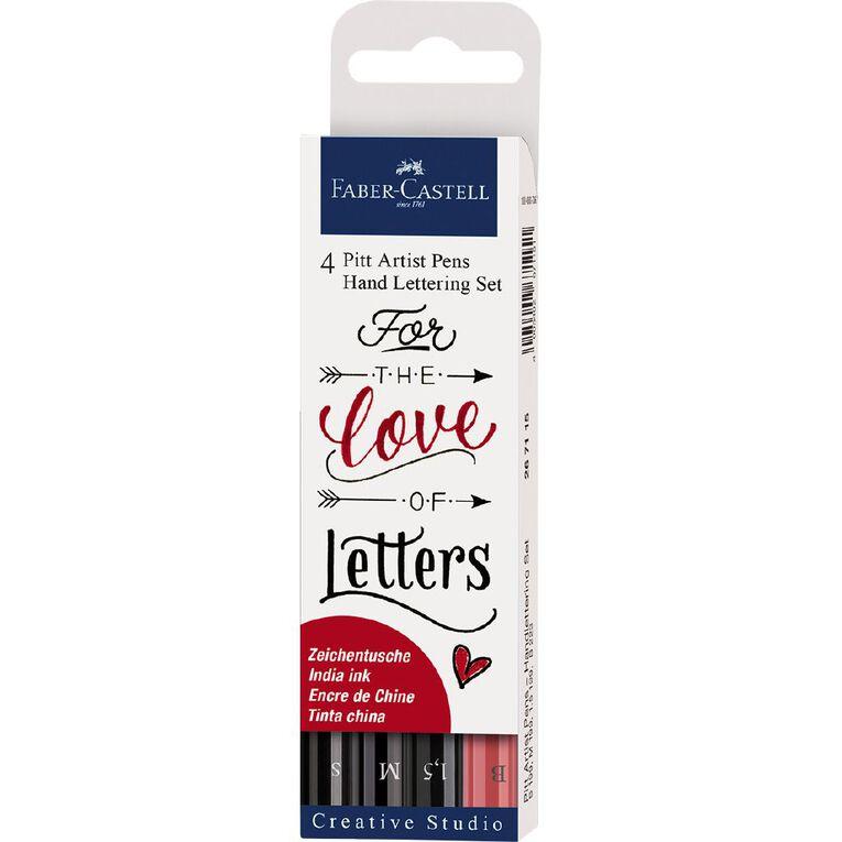 Faber-Castell Pitt Artist Pens Hand Lettering Set Love Letters 4 Pack, , hi-res