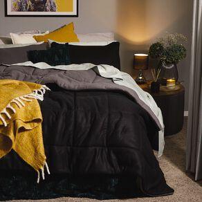Living & Co Comforter Set Polar Fleece Black Queen