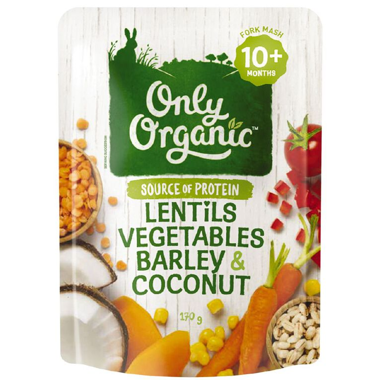Only Good Only Organic Lebtils Vegetables Barley & Coconut 170g Pouch, , hi-res