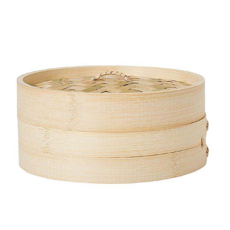 Living & Co Bamboo Steamer Natural 21cm, , hi-res