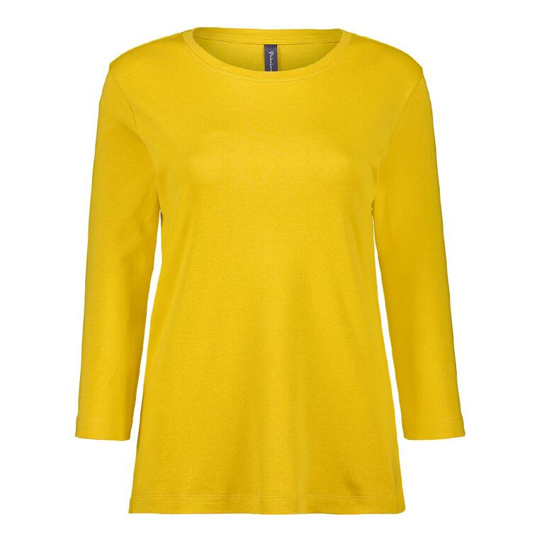 Pickaberry 3/4 Sleeve Boat Neck Tee, Yellow Mid, hi-res