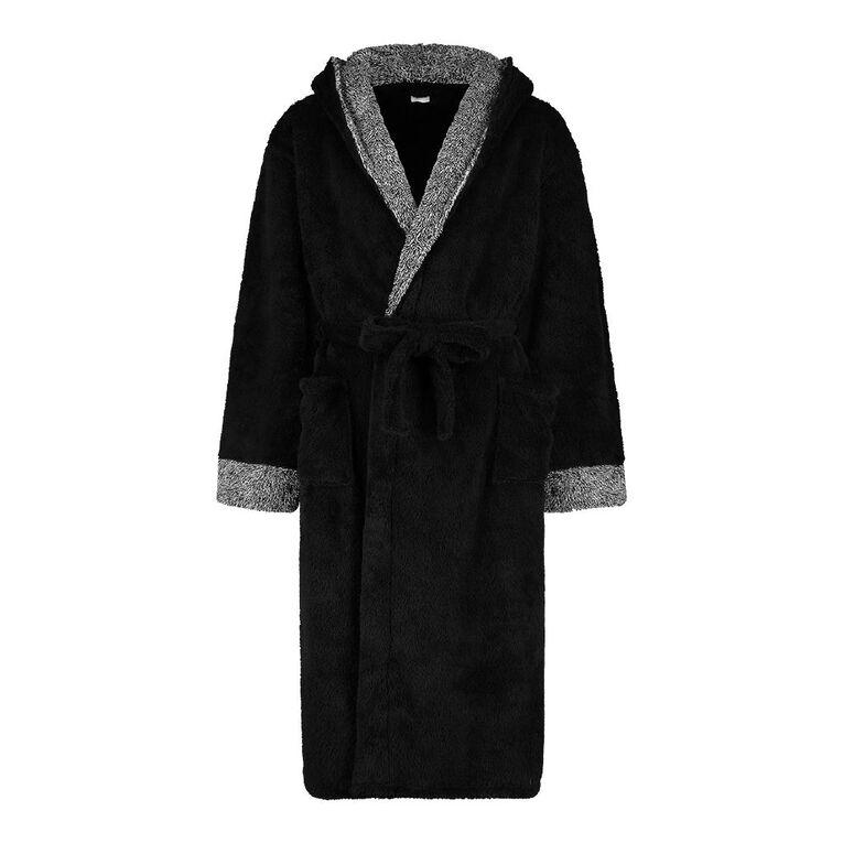 H&H Men's Shaggy Hooded Robe, Black, hi-res