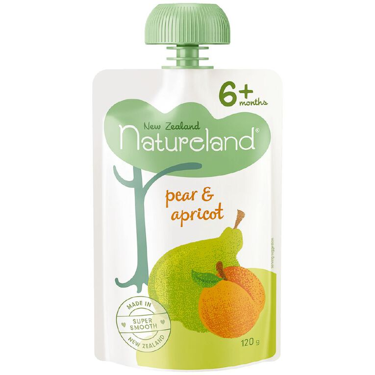 Natureland Roasted Pear and Apricot Pouch 120g, , hi-res