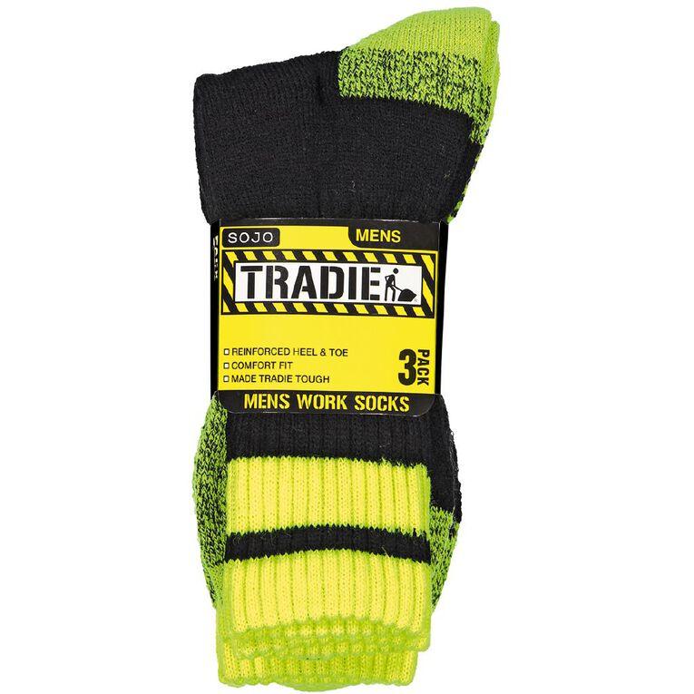 Tradie Men's Work Socks 3 Pack, Black/Yellow, hi-res