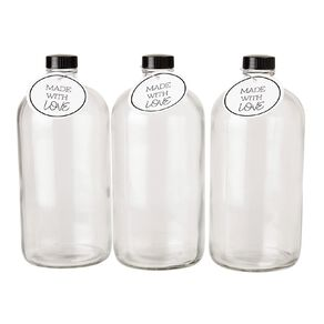 Living & Co Glass Bottle With Label 3 Pack 1L