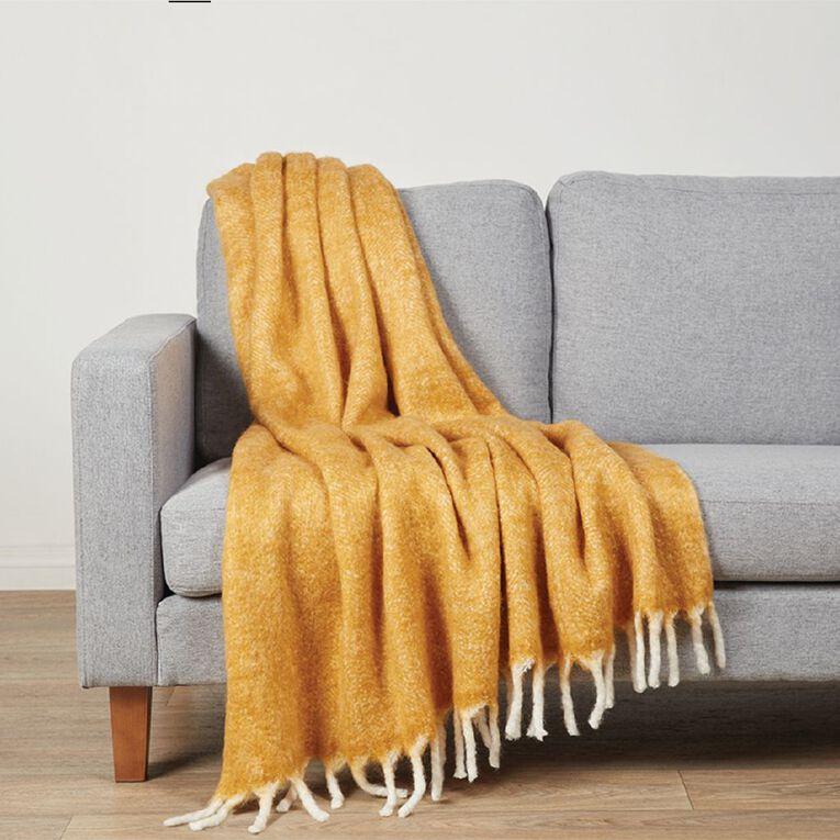 Living & Co Raised Wool Mix Throw Yellow 127cm x 152cm, Yellow, hi-res