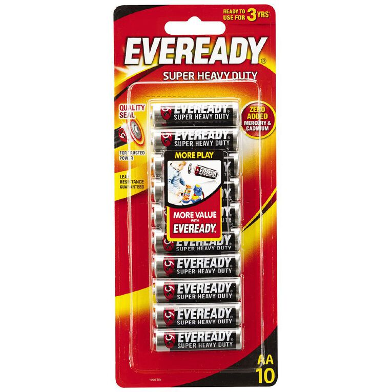 Eveready Super Heavy Duty Batteries AA 10 Pack, , hi-res