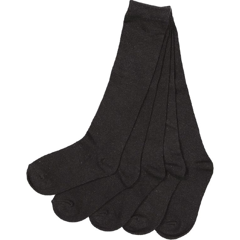 H&H Girls' School Knee High Socks 5 Pack, Black, hi-res