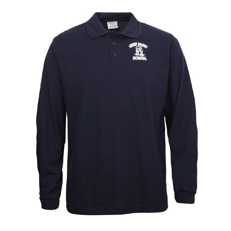 Schooltex Greymouth Main Long Sleeve Polo with Transfer, Navy, hi-res