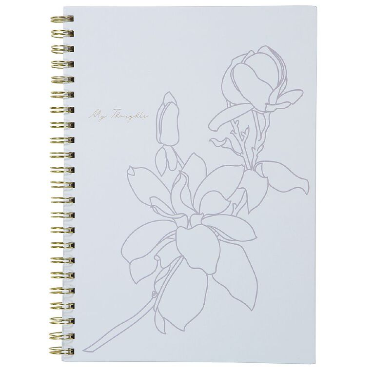 Uniti Fun & Funky Q4 Hardcover Spiral Notebook My Thoughts Blue Light A4, , hi-res