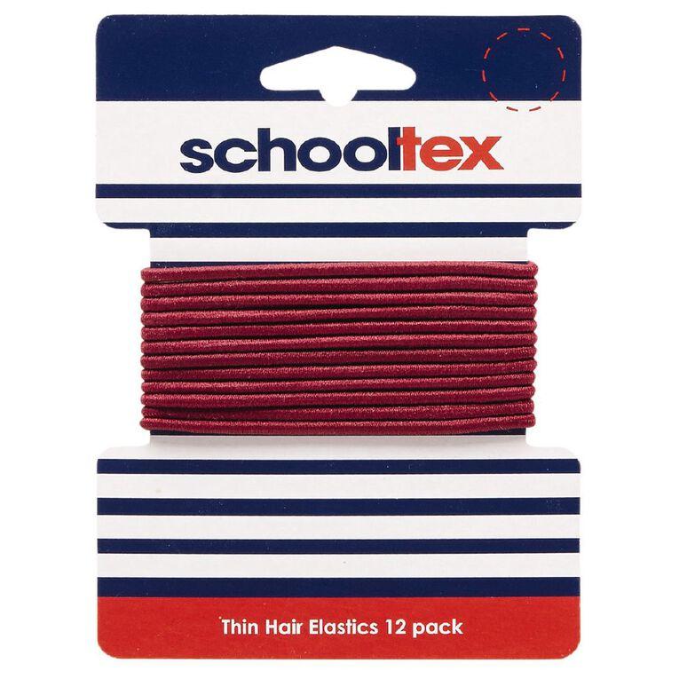 Schooltex Thin Snagless Elastics 12 Pack Burgundy, , hi-res