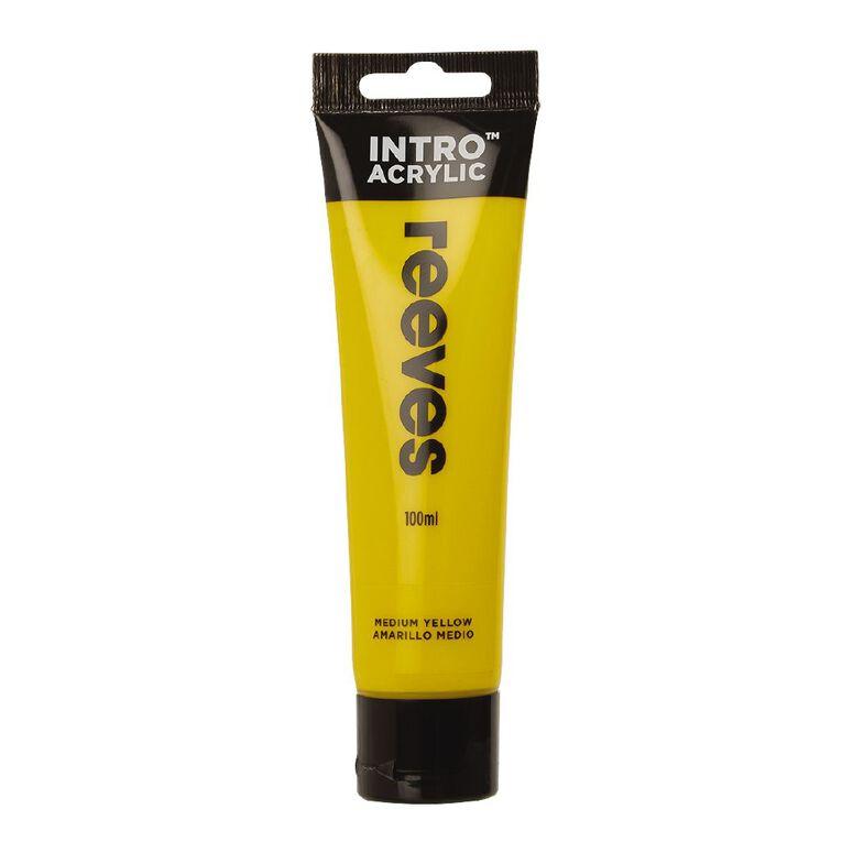 Reeves Intro Acrylic Paint Medium Yellow 100ml, , hi-res