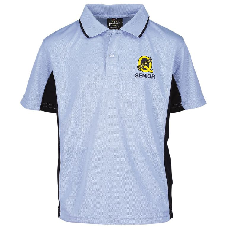 Schooltex Queenspark Senior Short Sleeve Polo with Transfer, Light Blue, hi-res