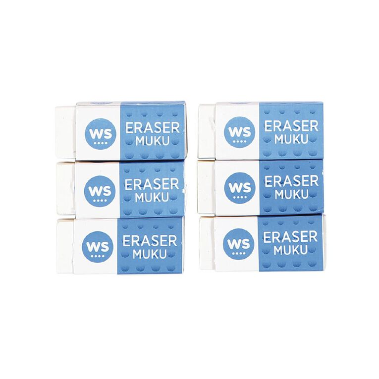 WS Eraser Small 6 Pack White, , hi-res