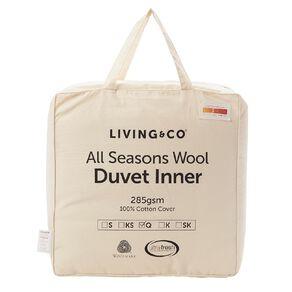 Living & Co Duvet Inner All Seasons Wool 285gsm White