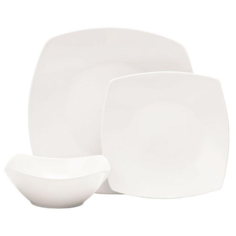 Living & Co Quadra Dinner Set White 12 Piece, , hi-res