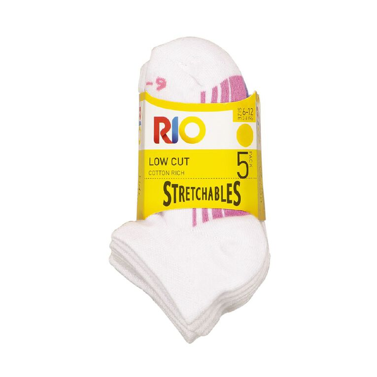 Rio Girls' Stretchables Low Cut Socks 5 Pack, White, hi-res