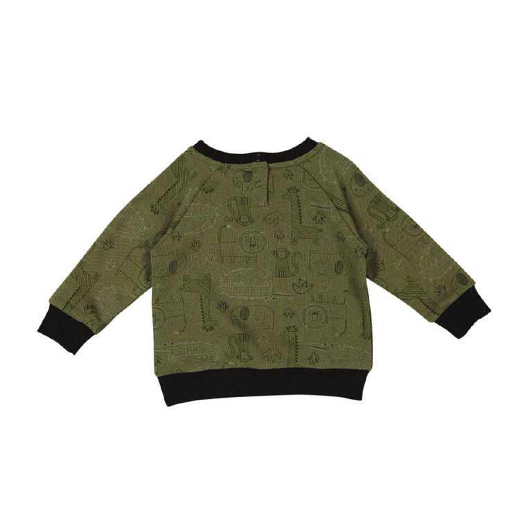 Young Original Baby Raglan Printed Sweatshirt, Green Dark, hi-res